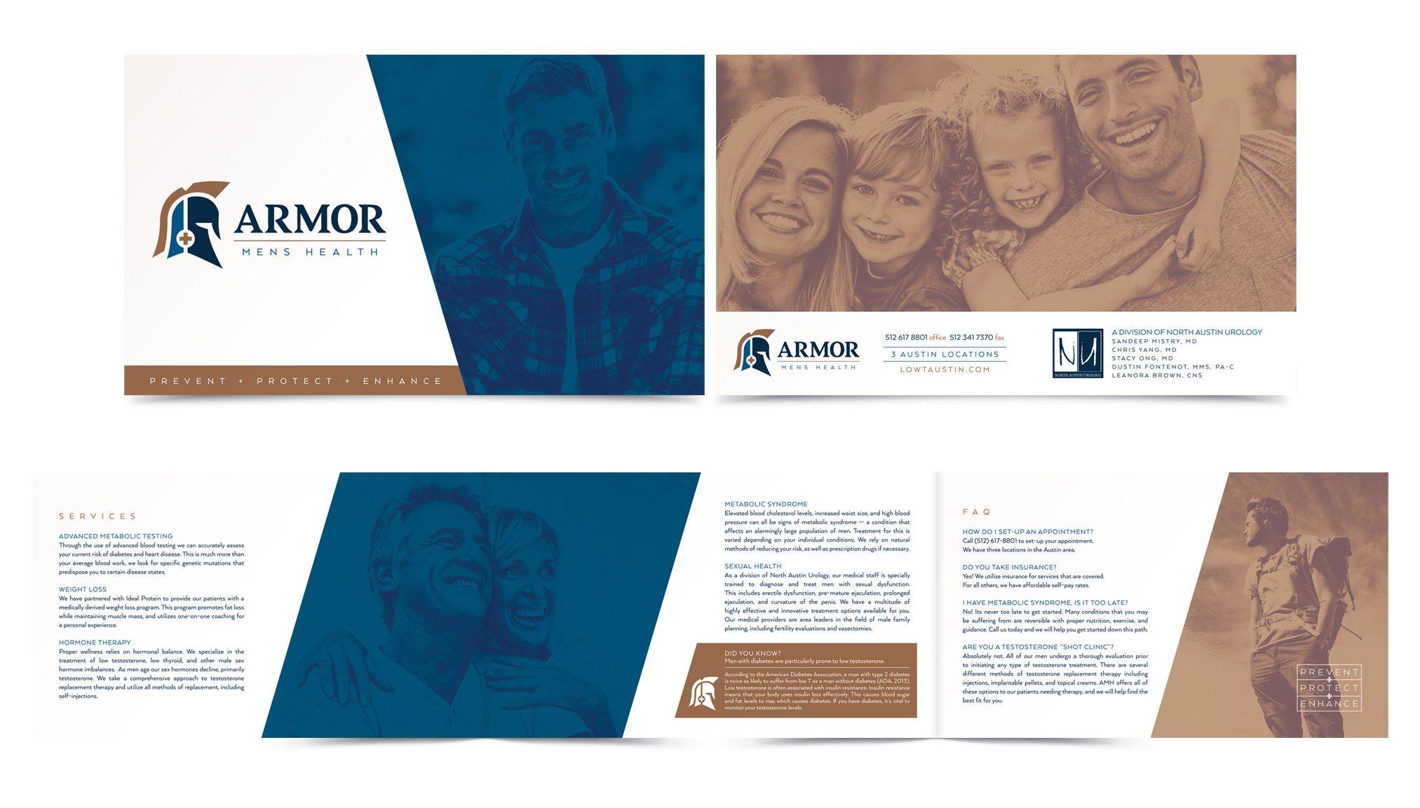 brochure design austin - armor men 39 s health left hand design left hand design