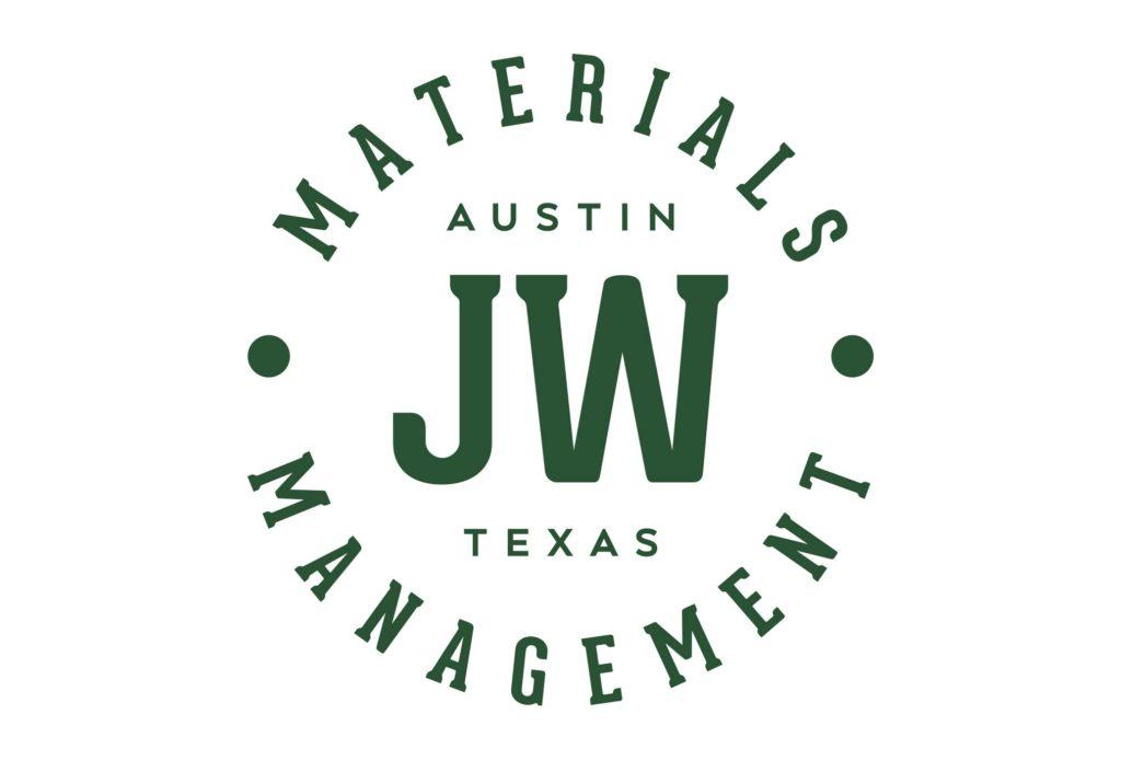 jw materials management construction logo design by left hand design in austin texas
