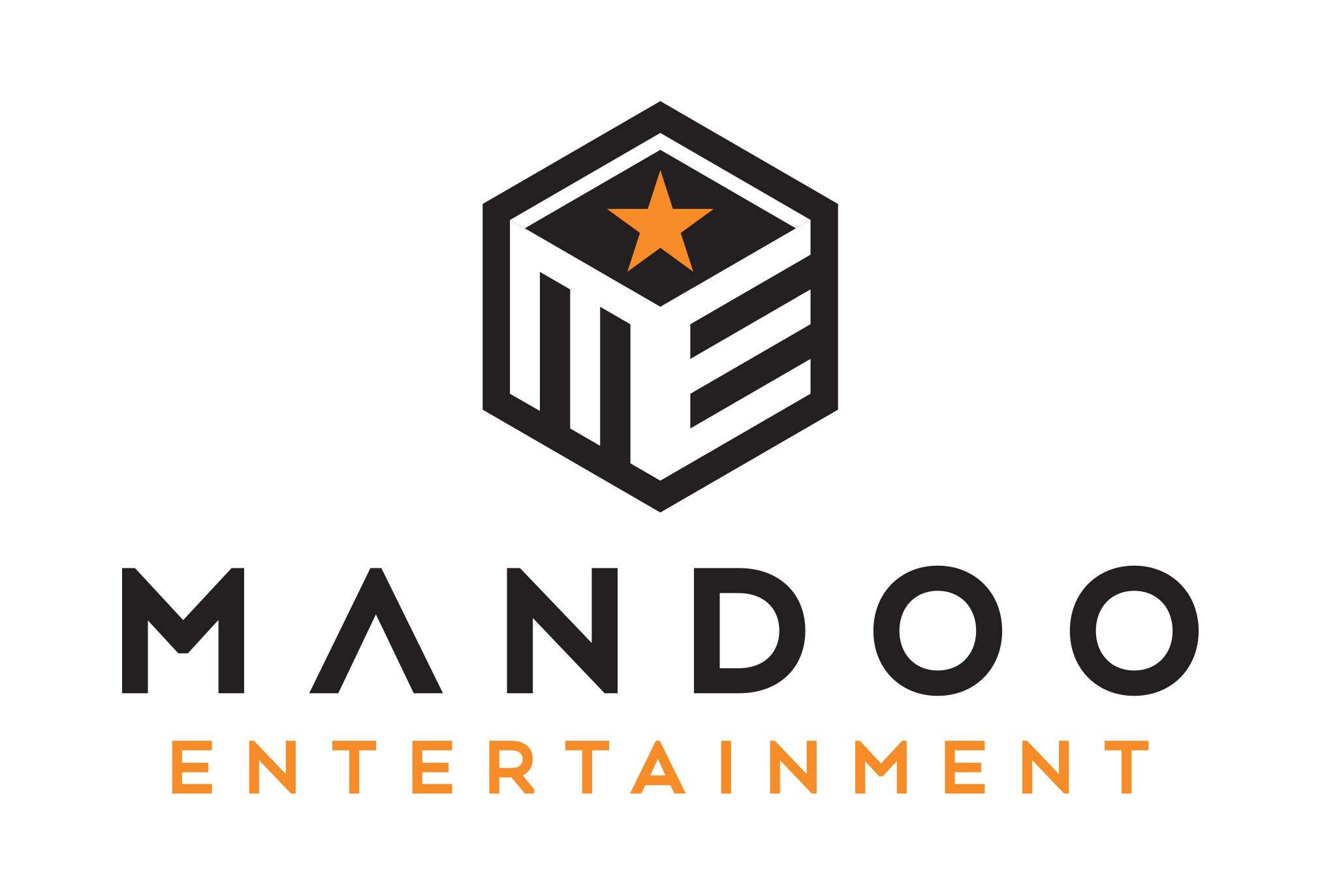 mandoo entertainment logo design by left hand design in austin texas
