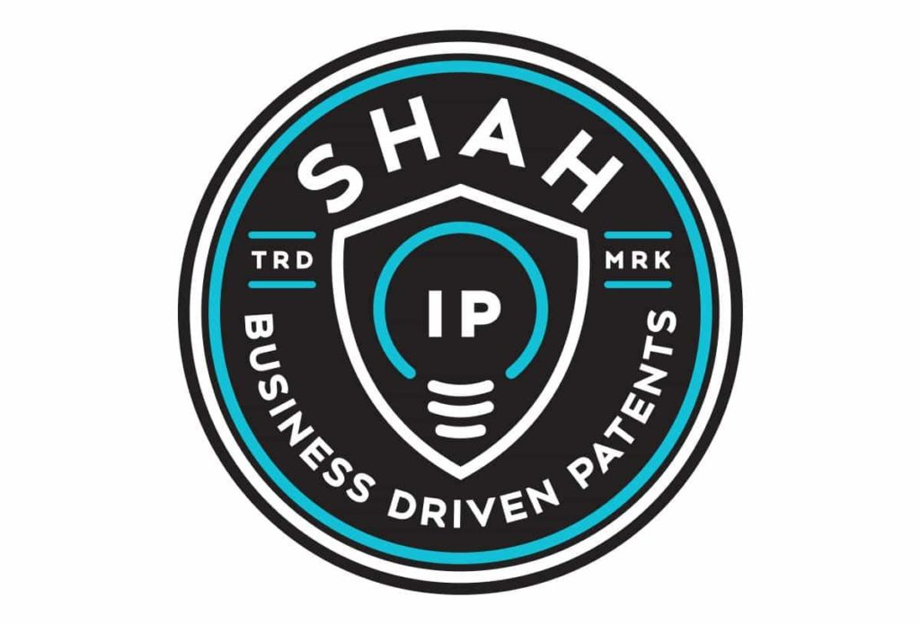 shah ip patent attorney law firm logo design in austin texas by beau morrow for left hand design