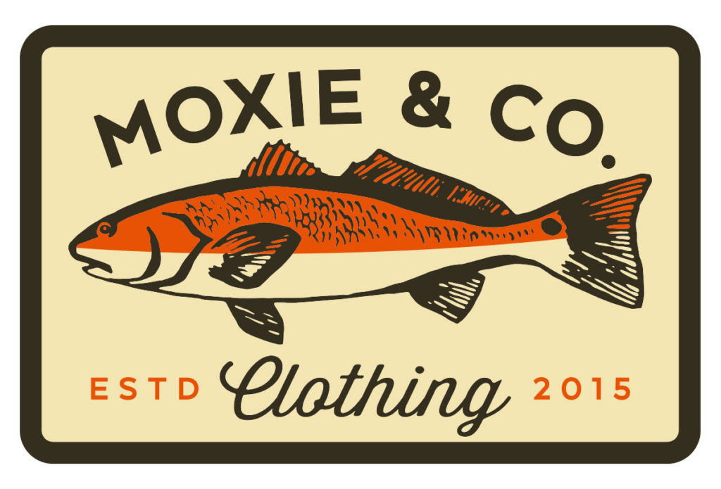 moxie & co fly fishing redfish patch design in austin texas by beau morrow for left hand design