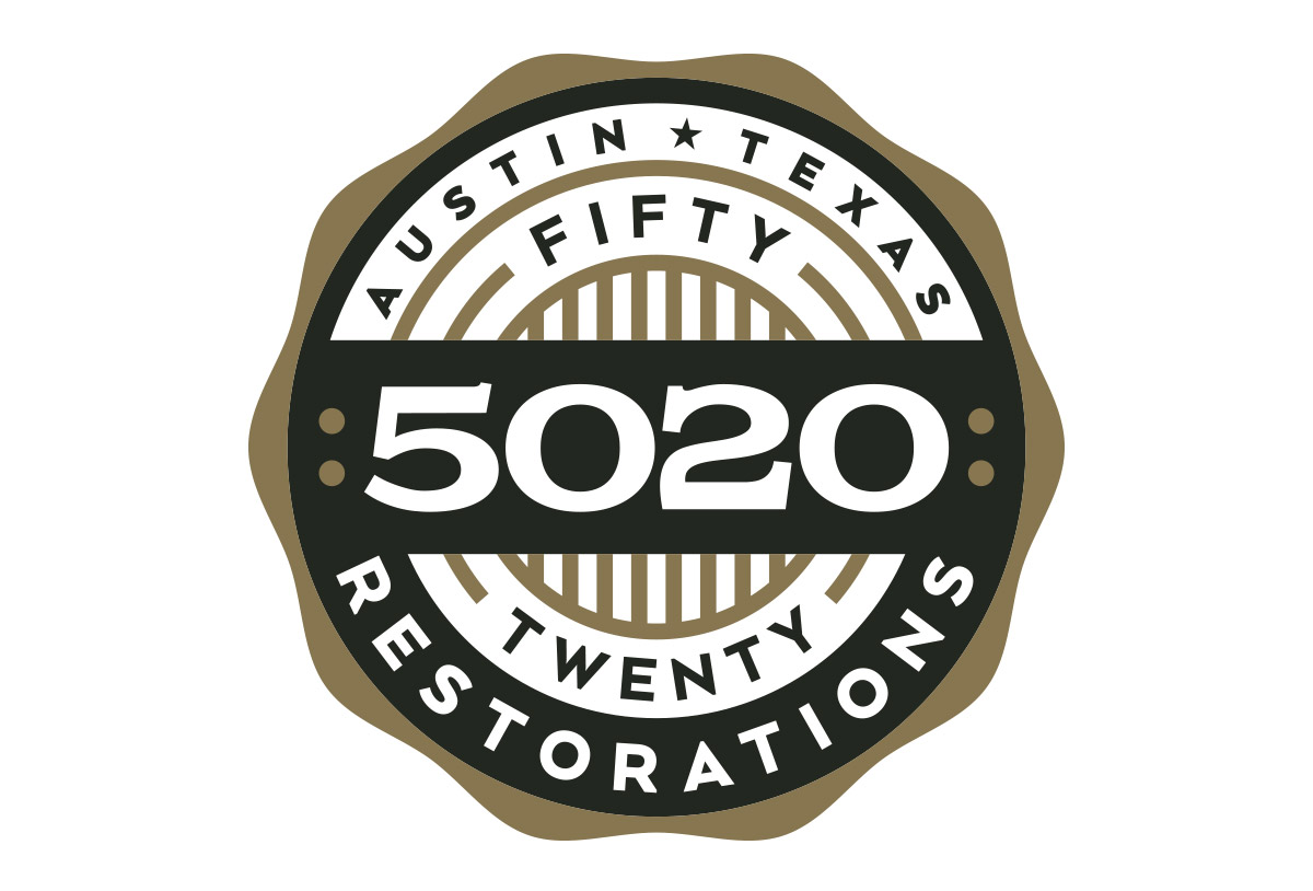 5020 restorations car shop logo design by left hand design in austin texas