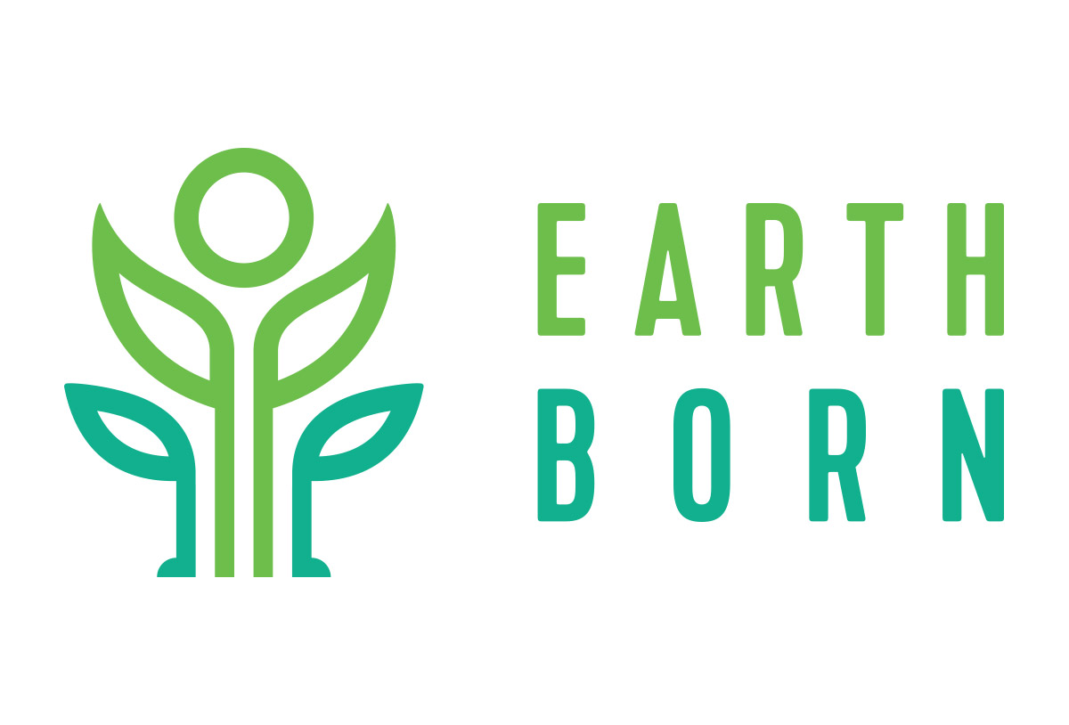 earthborn juice store logo design by left hand design in austin texas