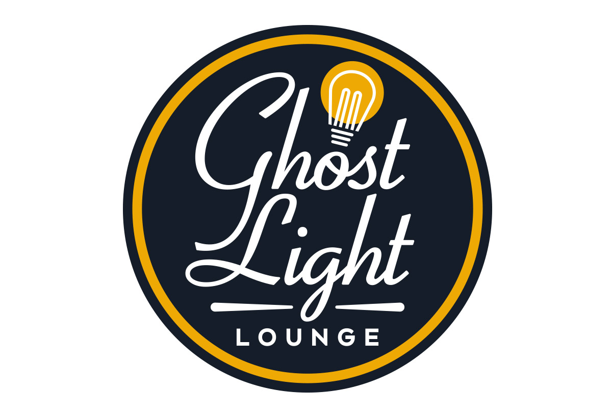 ghost light lounge bar logo design in austin texas by beau morrow for left hand design