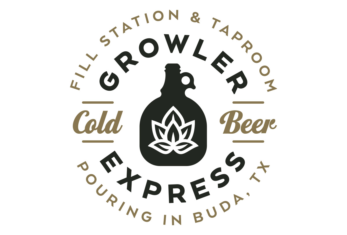 growler express bar logo design in austin texas by beau morrow for left hand design