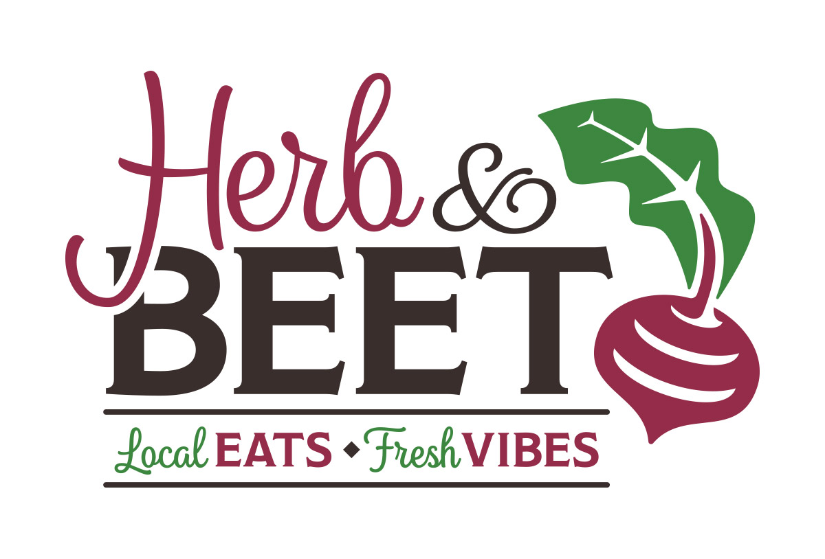 herb and beet restaurant logo design in austin texas by beau morrow for left hand design