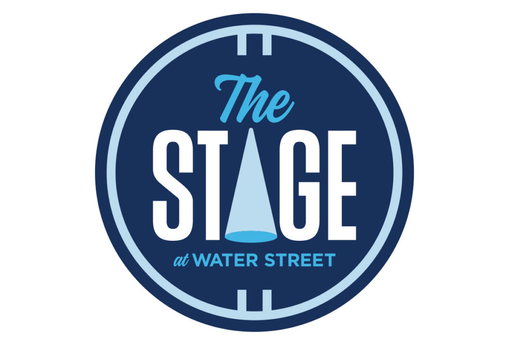 the stage at waterstreet theatre logo design in austin texas by beau morrow for left hand design