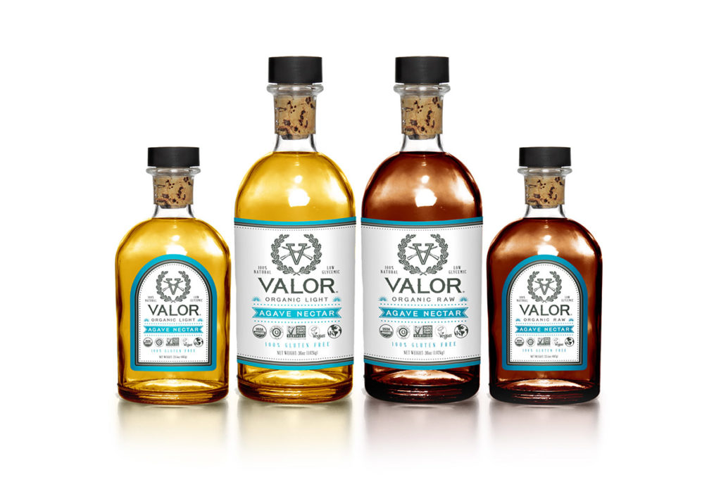 valor spirits agave nectar package design in austin texas by beau morrow for left hand design